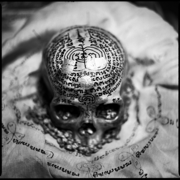 A human skull inscribed with sacred yantra text used for rituals